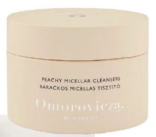 """""""My newest obsession is Omorovicza Peachy micellar cleansing pads, soaked in a natural micellar solution. In one sweep, each disc removes all impurities and makeup (including waterproof mascara, which saves time during my evening skincare rituals)."""" PHOTO COURTESY OF BRANDS"""