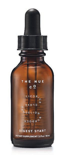 """""""Apple cider vinegar tinctures like Digest Start from Nue Co. are great—this is a great primer for your tummy before a meal,"""" says Huss. PHOTO COURTESY OF BRANDS"""