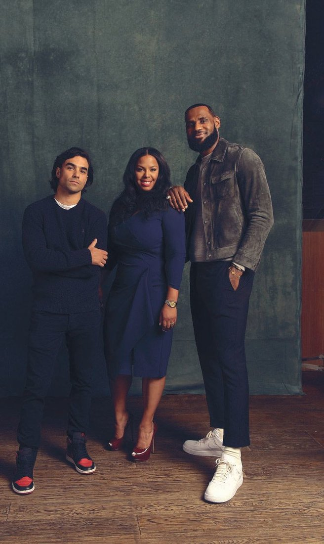 Lobos 1707 founder and Chief Creative Officer Diego Osorio, CEO Dia Simms and early investor LeBron James PHOTO BY: JUSTIN BETTMAN
